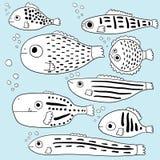 Gestileerde vissen Reeks abstracte overzeese vissen beeldverhaal inzameling Kinderen` s tekeningen Lijnart. Vector Stock Afbeeldingen