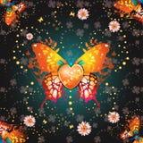 Gestileerde vlinder met hart Royalty-vrije Stock Afbeeldingen
