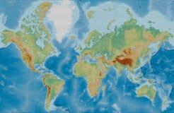 Gestileerde wereld fysieke vectorkaart gebruikend cirkels op een zwarte rug Stock Fotografie
