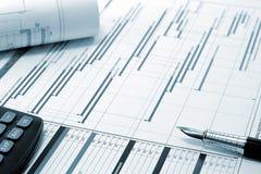 Gestión del proyecto - plannin del proyecto de construcción Imagen de archivo libre de regalías