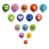 Gestion d'entreprise et ensemble d'icône de bureau illustration de vecteur