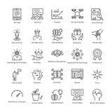 Gestion d'entreprise et ligne icônes 22 de vecteur de croissance Photos stock