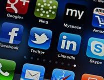 Gestion de réseau sociale sur l'iPhone Image stock