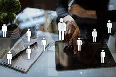 Gestion de ressource humaine, heure, recrutement, direction et teambuilding Images stock