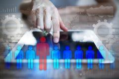 Gestion de ressource humaine, heure, recrutement, direction et teambuilding Image stock