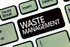 Gestion des déchets des textes d'écriture de Word Le concept d'affaires pour des actions exigées contrôlent le commencement de dé photos libres de droits