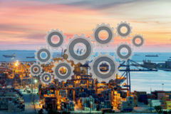 Gestion du réseau de connexion de chaîne d'approvisionnements de logistique Images libres de droits
