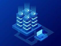 Gestion du réseau isométrique de base de données La grande informatique, station d'énergie d'avenir Technicien informatique Turni illustration de vecteur