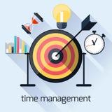 Gestion du temps, concept de synchronisation dans la conception plate Images stock