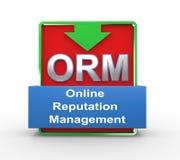 gestion en ligne de réputation de l'orm 3d Photos libres de droits
