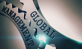 Gestion globale - mécanisme des roues dentées brillantes en métal 3d Photos stock