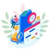 Gestion hebdomadaire en ligne isométrique d'organisation de planificateur de programme et de calendrier sur le smartphone Déroule illustration stock