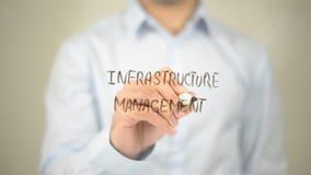 Gestione dell'infrastruttura, scrittura dell'uomo sullo schermo trasparente Fotografie Stock