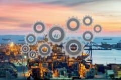Gestione della rete del collegamento della catena di fornitura della logistica immagini stock libere da diritti