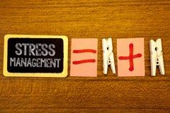 Gestione dello stress del testo della scrittura La graffetta bianca di sanità della positività di rilassamento di terapia di medi Fotografia Stock