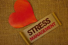 Gestione dello stress del testo di scrittura di parola Concetto di affari per la pagina w di rosa della lavanda di sanità di posi Fotografia Stock
