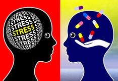 Gestione dello stress e compresse Immagine Stock Libera da Diritti