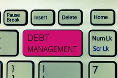 Gestione di debito del testo di scrittura di parola Concetto di affari per l'accordo ufficiale fra un debitore e un creditore immagini stock libere da diritti