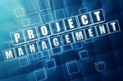 Gestione di progetti in cubi di vetro blu Immagine Stock