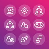 Gestione, risorse umane, ora, linea icone messe Fotografia Stock