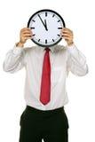 Gestionnaire d'horloge devant la tête avec la tension. images libres de droits
