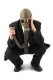Gestionnaire dans le masque de gaz photos libres de droits