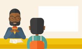 Gestionnaire de ressources humain noir de sourire interviewé Image libre de droits