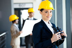 Gestionnaire féminin de construction image libre de droits