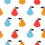 Gestippeld peren naadloos blauw en rood patroon op wit royalty-vrije illustratie