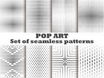 Gestippeld, reeks van het Pop-art de naadloze patroon Halftone puntenachtergrond Zwart-witte kleur Vector