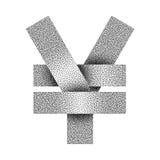 Gestippeld yuans en Yentekenpictogram Yuans of Yenmuntsymbool Vector illustratie Stock Foto