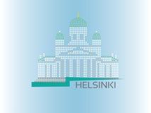 Gestippelde de stijlillustratie van Helsinki Kathedraal Stock Foto