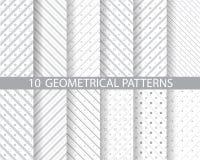 Gestippelde en gestreepte patronen Stock Afbeelding