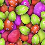 Gestippelde en omcirkelde Paaseieren (Naadloze textuur) Stock Afbeeldingen