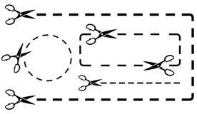 Gestippelde lijn die met schaarknipsel wordt geplaatst Royalty-vrije Stock Fotografie