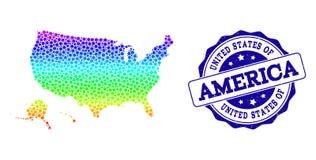 Gestippelde Regenboogkaart van de Gebieden van de V.S. en Grunge-Zegelverbinding vector illustratie