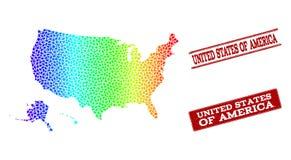 Gestippelde Spectrumkaart van de Gebieden van de V.S. en Grunge-Zegelverbindingen royalty-vrije illustratie