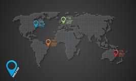 Gestippelde vectorwereldkaart met schaduwen en kaartpictogrammen Royalty-vrije Stock Foto