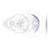 Gestippelde wereldbol met abstracte bouw, verbindingslijnen en punten, molecules op witte achtergrond molecule Royalty-vrije Stock Foto's