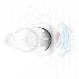 Gestippelde wereldbol, verbindingslijnen, abstracte bouw, ruimtestation, geïsoleerde baan vector illustratie