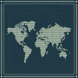 Gestippelde wereldkaart over blauwdrukachtergrond Royalty-vrije Stock Foto's