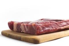 Gestoßenes Rindfleisch Brasilianer Carne-seca auf einem hölzernen Brett Stockbild