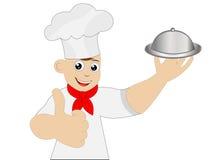 Gesto allegro di manifestazione del cuoco dell'uomo Immagini Stock Libere da Diritti