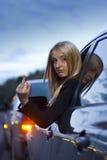 Gesto arrabbiato del driver femminile Immagini Stock