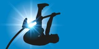Gesto atlético del saltador de polo en el salto con pértiga Foto de archivo