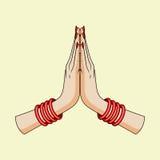 Gesto bem-vindo das mãos da mulher indiana Imagem de Stock