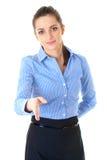 Gesto benvenuto, donna di affari in azzurro, isolato Immagine Stock