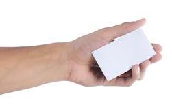 Gesto da mão que dá o cartão Foto de Stock Royalty Free