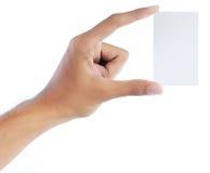 Gesto da mão que dá o cartão Fotografia de Stock