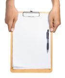 Gesto da mão que prende o Livro Branco Foto de Stock Royalty Free